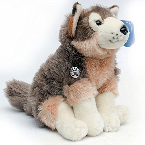 Wolf Welpe IVENHOE 25 cm sitzend Plüschtier von Kuscheltiere.biz