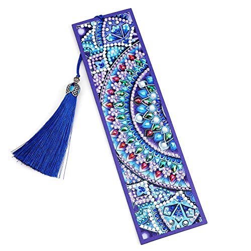 VETPW 5D DIY Diamant Malerei Lesezeichen, Malen Nach Zahlen Kit, Special Shaped Diamond Painting Bookmark, Diamant Stickerei Malerei Quaste Leder Lesezeichen Set -Mandala