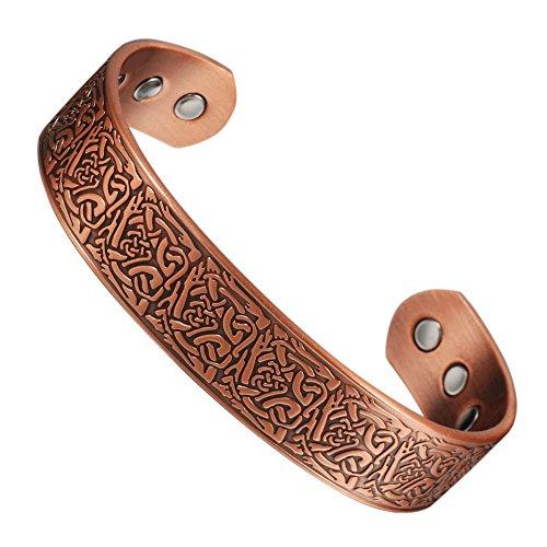 Pulsera magnética Wollet, de cobre, 17,8cm, 6imanes, para hombre, para la artritis,...