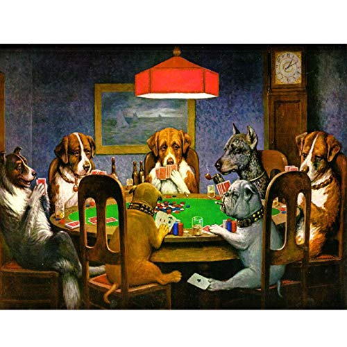 SKRYUIE 5D Full Drill Diamond Painting by Number Kits The Dog Playing Cards, Paint with Diamonds Arts Embroidery DIY Craft Set Arts Decorations(12x16 inch)…