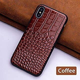 for iPhone X Leather Case, Slim Fit Cell Phone Cover Genuine Leather Phone Case(Crocodile Skin Style) for iPhone X (Black (Coffee,for iPhone 6 6S)