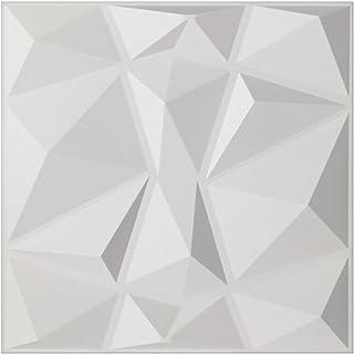 Textures 3D Wall Panels White Diamond Design Pack of 12 Tiles 32 Sq Ft (PVC)