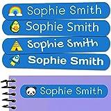 50 Etiquetas Adhesivas Personalizadas, de 6 x 1 cms, para marcar objetos, libros, fiambreras, etc. Color Azul Oscuro