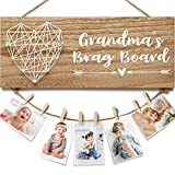 Grandma's Brag Board Grandma Mothers Day Gifts Grandma Birthday Gifts Photo Holder, Gifts for Grandma from Granddaughter and Grandson, Grandkids Picture Frame Nana Grandmother Gifts for Mothers Day