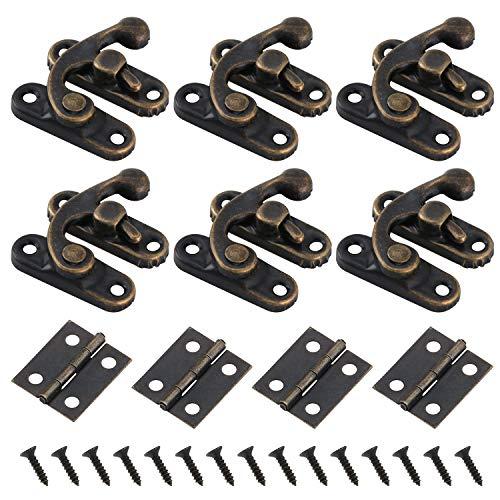 40 juegos de cerraduras de cerrojo de cerrojo derecho antiguo, gabinete decorativo, joyero, cerradura y bisagras de caja pequeña 80PCS con tornillos de repuesto 480PCS - tono bronce