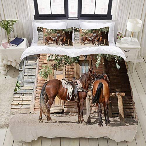 Juego de funda nórdica de fácil cuidado y 2 fundas de almohada, animales de granja rústicos de caballo en el tradicional paisaje de la ciudad del oeste americano, granja de madera rústica, elegante fu