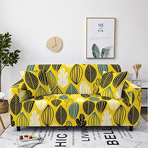 Patrón de Hoja Amarilla Funda de sofá de 1 Plazas Funda Elástica para Sofá Poliéster Suave Sofá Funda sofá Antideslizante Protector Cubierta de Muebles Elástica