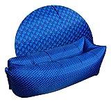 ZYLE Al Aire Libre Inflable Lazy Sofá Cama portátil Sofá Playa Viaje Camping Resistente a Las lágrimas Plegable Siesta Cojín de Aire 226 × 58 cm (Color : Blue Plaid Pattern)