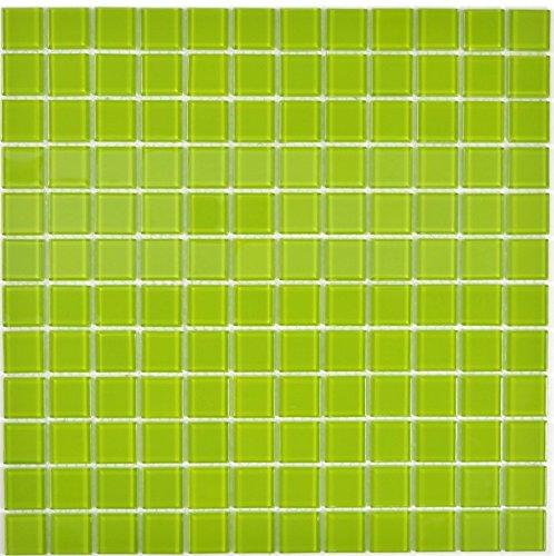 Mosaik Fliese Transluzent Glasmosaik Crystal grün für WAND BAD WC DUSCHE KÜCHE FLIESENSPIEGEL THEKENVERKLEIDUNG BADEWANNENVERKLEIDUNG Mosaikmatte Mosaikplatte