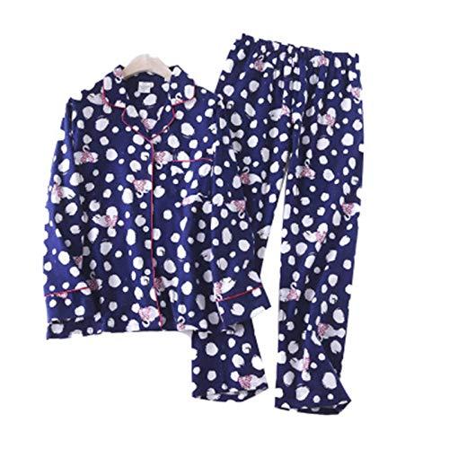 LEYUANA Conjunto de Pijama de Mujer de algodón 100%, Pijama de Punto con Estampado Sexy para el hogar, Ropa de Dormir cálida de Invierno para Mujer, Talla Grande S Style3