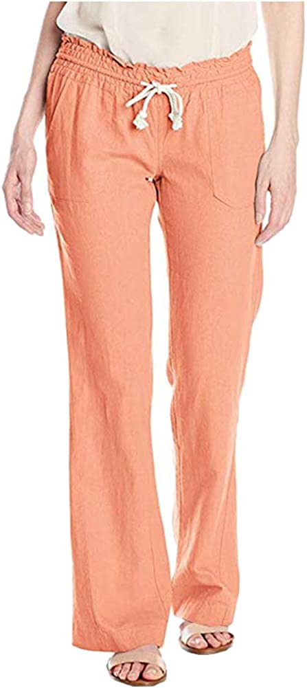 Kedera Women's Loose Wide Leg Pants Cotton Linen Girdle Back Elastic Waist Casual Pants