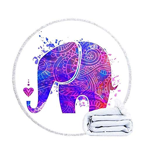 VSander Round Blanket Elephant Microfiber Large Quick Dry, Mandala Bath Towel With Tassels Printed Super Soft Absorbent Water Lightweight Sunscreen Sports Travel 150cm/59in