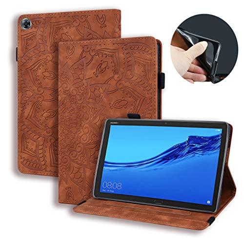 LMFULM® Hülle für Huawei Mediapad M5 Lite (8 Zoll) PU Lederhülle Smart Hülle Ständer Schutzhülle Flip Cover Prägung Mandala Braun