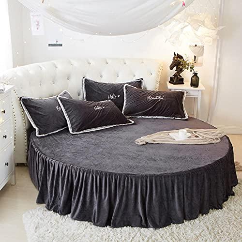 CYYyang Protector de colchón/Cubre colchón Acolchado, Ajustable y antiácaros. Falda de Cama Redonda de Felpa-Falda de Cama Gris Oscuro_2.1m