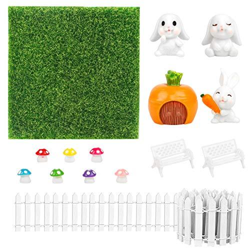 Miniatur Garten Set Micro Landschaft Zubehör Miniatur Garten Verzierung mit Miniatur Holz Gartenzaun Basteln Kunstrasen Süßer Hase für DIY Puppenhaus Garten Dekoration