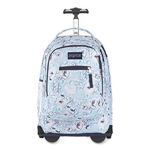 JanSport Driver Rolling 15' Laptop Backpack - Wheeled Book Bag | Blue Sketch Floral Print