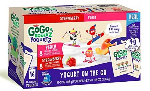 GoGo SqueezYogutrz (16) 3oz packs --- (8) Peach & (8) Strawberry