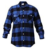 Rothco Extra Heavyweight Buffalo Plaid Flannel Shirts, Blue, Large