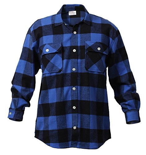Rothco Heavy Weight Plaid Flannel Shirt, Blue,...