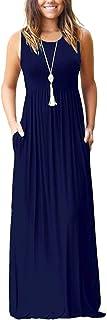 AUSELILY Women's Summer Sleeveless Loose Plain Maxi Dress Casual Long Dress with Pockets - Blue - Medium