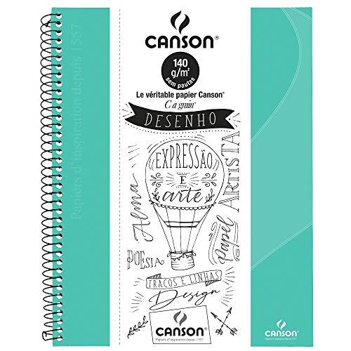 Caderno Desenho A4+ 140g/m², Canson, 71406818BR, Verde Tifany, 40 Folhas