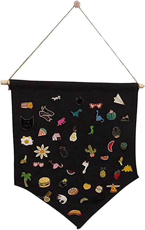 Mrsalontek Wall Banners Multi Functional Wood Support Blank Badge Collection Brooch Display Button Organizer Hanging Cloth Decor Black