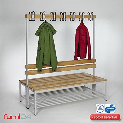 furni24 Umkleidebank Sitzbank Garderobenbank Sportraum Bank für Fitnessstudio Buche Echtholz (2-seitig) doppelseitig mit Garderobenhaken und Schuhrost/Schuhablage 150 cm x 170 cm x 85 cm