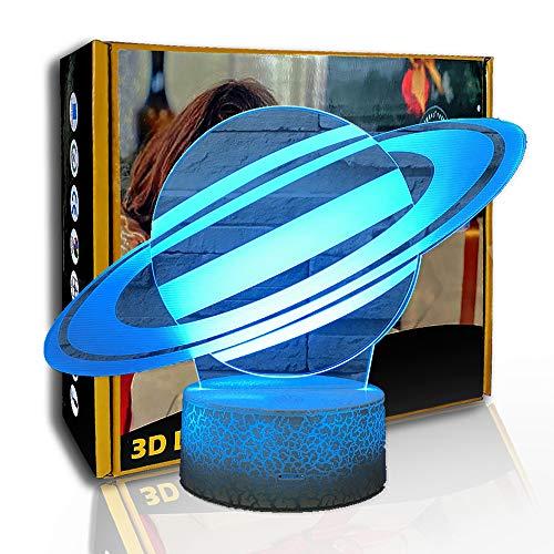 KangYD Universum Saturn 3D Nachtlicht, LED-Illusionslampe, Kindergeschenk, A - Black Base Berühren (7 Farbe), Glücksgeschenk, Schlafzimmerlampe, Partygeschenk, Illusionslampe