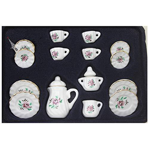 lijun 1:12 casa de muñecas vajilla Muebles en Miniatura 17 Piezas Juegos de té de cerámica