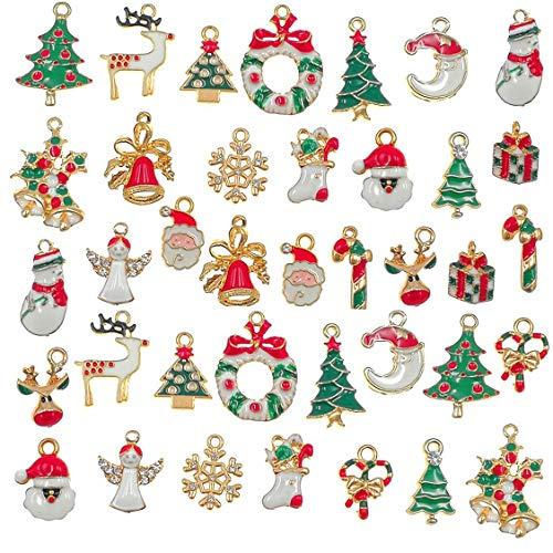 38個入 チャーム クリスマス オーナメント DIY手作り ネックレス イヤリング ペンダント ジュエリー用 ハンドメイド 装飾パーツ 贈り物
