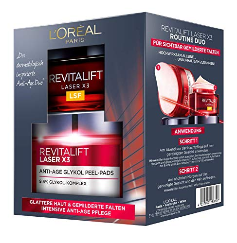 L 'Oréal Paris Cuidado Facial Juego revitalift Laser X3 rutina Duo Set de regalo, 20 ml