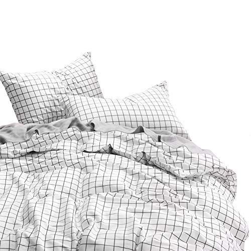Wake In Cloud - Grid Duvet Cover Set, 100% Cotton Bedding, Black Grid Geometric Modern Pattern Printed on White, with Zipper Closure (3pcs, Queen Size)