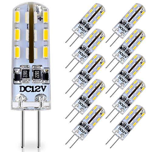 KitaBulb, Lampadine LED G4 bianco caldo, DC 12 V, 1 W, 80 lm, per la sostituzione di lampadine alogene da 10 W. Confezione da 10