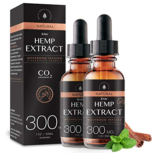 (2-Pack) Raw Hemp Oil - 300MG - Cinnamint Flavor - Enhanced Efficacy, Made in USA - Rich in Omega 3-6-9 Fatty Acids, Kosher, Non-GMO. White Cedar Naturals