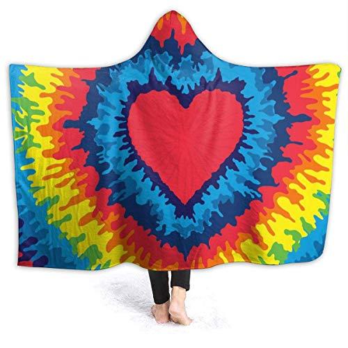 AEMAPE Rainbow Gay Heart Manta con Capucha para Hombre Manta de Franela súper Suave Sudadera con Capucha Bata con Capucha para Vestir Capa con Capucha para Ver películas 60 'x 50'