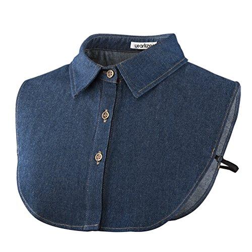 Wearlizer Frauen Kragen Abnehmbare Hälfte Shirt Bluse In Baumwolle Weiß/Schwarz/Jeans (Dunkle Jean)