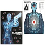 Juvale Human Silhouette Large Shooting Target Sheets (25 x 38 in, 2 Designs, 50 Pack)