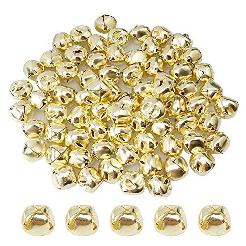 Suneast 100 Stück Weihnachtsglocken, Metallglocken zum Basteln von Schmuck - Gold - 6mm
