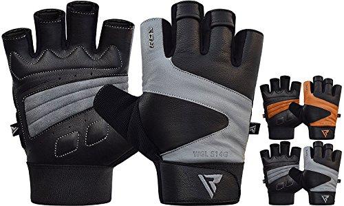 RDX Guantes Gimnasio Cuero Fitness Culturismo Musculacion Gym Levantamiento de Pesas Entrenamiento Halterofilia Powerlifting Antideslizante Workout Deportivos Weightlifting Gloves.