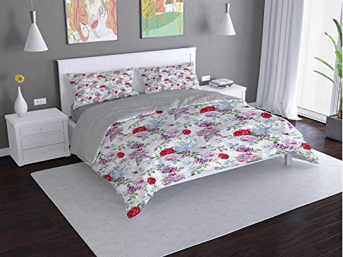 Flower Comfort Luxurious Softest Premium Bed Sheet Set Roses-Mimosa-Lilac-Peonies Anti-wrinkle and anti-fading (Queen)