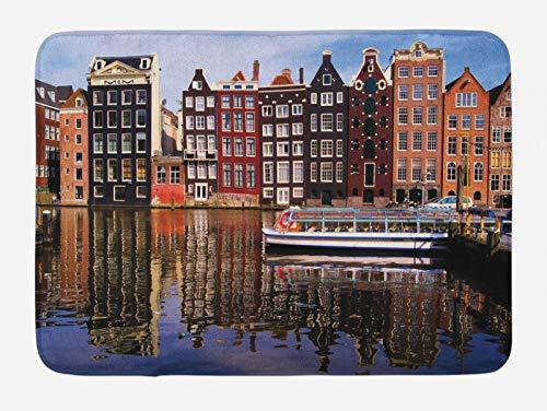 ABAKUHAUS Amsterdam Tappetino da Bagno, Tradizionale Vecchie Case, Vasca Doccia WC Tappeto in Peluche con Supporto Antiscivolo, 45 cm x 75 cm, Multicolore