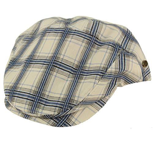 EPOCH Men's 100% Cotton 7 Panel Ivy Mixed Pattern Driver Cabby Flat Cap Hat L/XL Plaid White