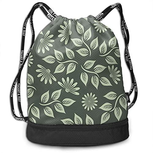 Patrón de flores primavera verde unisex Fitness bolsa de cordón mochila de bebé arnés deportivo mochila bolsillo al aire libre senderismo natación paquete durable