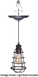 Worth Home Products Instant Screw In Pendant Light with Wire Cage Shade