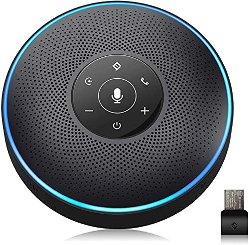 eMeet M2 Bluetooth Konferenzlautsprecher - USB Freisprecheinrichtung für 5-10 Personen, Speakerphone mit 4 AI-Mikrofon, 360º Spracherkennung, Konferenzmikrofon mit Dongle, für Skype, Zoom usw.