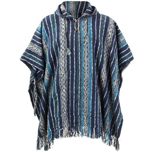 LOUDelephant Poncho mit Kapuze, 100 % gewebte Baumwolle, Mexikanischer Stil Gr. Einheitsgröße, blau / weiß