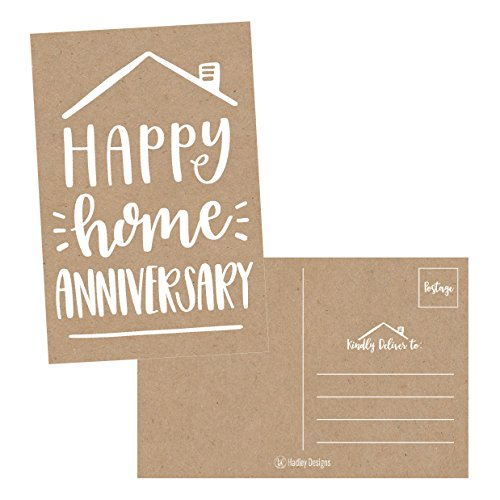 25 Kraft Happy Home Anniversary Realtor Cards, Blank Greeting House Postcards, Bulk Real Estate Thank You Notes, Welcome Home Realtor Gifts Stationery, New Realtor Gifts For Clients, Housiversary Card