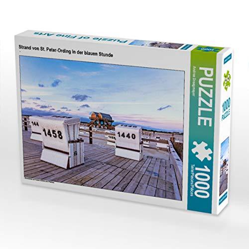 CALVENDO Puzzle Strand von St. Peter-Ording in der blauen Stunde 1000 Teile Lege-Größe 64 x 48 cm Foto-Puzzle Bild von Andrea Dreegmeyer