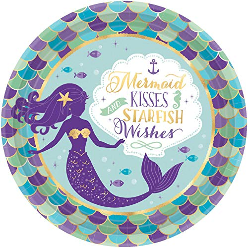 Amscan 551975 Metallic Round Plates | Mermaid Wishes Collection | 8 pcs | Birthday