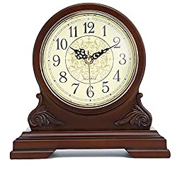 XLBHSH Vintage Farmhouse Table Clock Mantel Clock with Real Wood, Antique Vintage Design, Decorative Clock, Battery Operated